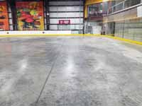 We traveled to Kapolei, Hawaii and inside to resurface two inline skate hockey rinks with Versacourt Speed Indoor tile. This is a picture of one corner of the first court before any tiles were installed.