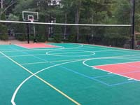 Backyard basketball court plus tennis and volleyball in Pembroke, MA. We could install backyard basketball for you in Randolph, Lakeville, Stoughton, East Bridgewater, Berkley or Foxborough.