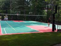 Backyard basketball, volleyball and tennis court and accessories in Pembroke, MA. We sport basketball and other play surfaces that can be yours in Fall River, New Bedford, Yarmouth, Brighton, Manomet or Buzzards Bay.