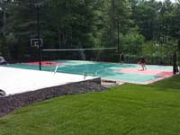 Backyard tennis court in Pembroke, MA. Backyard basketball, volleyball or tennis by Basketball Courts of Massachusetts could be yours in Hyde Park, Onset, Centerville, Osterville, or Carver.