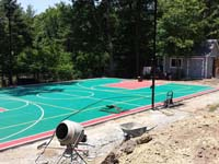 Backyard basketball courts like this multicourt in Pembroke, MA can be yours in Massachusetts locations like Pocasset, Sagamore Beach, Dennis Port, Falmouth Heights, Hatchville and Silver Beach.