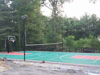 Backyard basketball courts like this multi-sport surface in Pembroke, MA can be yours in Massachusetts locations like Milford, Mendon, Millville, Upton, Ashland and Westborough.