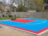 Backyard basketball court in Beverly, MA. You could have your own backyard basketball by Basketball Courts of Massachusetts in Wenham, Salem, Lynnfield, Reading or Stoneham.