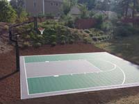 Backyard basketball court in Pembroke, MA. Whatever your sport, you could have a court surface and accessories of your own in Lakeville, Stoughton, Avon, Abington or Whitman.