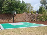 Backyard basketball court in Bridgewater, MA. Whatever your sport, you could have a court surface and accessories of your own in Dighton, Westport, Swansea, Acushnet or Yarmouth.
