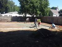 Building an ideal backyard basketball court base in Canton, MA. Whatever your sport, you could have a court surface and accessories of your own in Sagamore Beach, Woods Hole, Milford, Mendon or Blackstone.