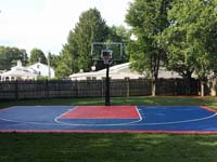 Backyard basketball court in Canton, MA. Whatever your sport, you could have a court surface and accessories of your own in West Roxbury, Allston, Chestnut Hill, Winchester or Concord.