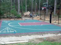 Basketball court completed except landscaping in Duxbury, MA