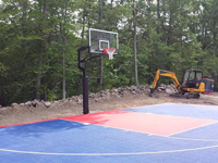 Backyard basketball court installation in North Attleboro, MA. Wouldn't you like a custom backyard basketball court in Quincy, Milton, Hanover, East Bridgewater or Lakeville?