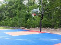 Backyard basketball court construction in North Attleboro, MA. We could build you a backyard basketball court in Middleboro, Wayland, Sudbury, Lincoln, or Sagamore.