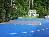 Backyard basketball court construction in West Bridgewater, MA