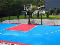 Backyard basketball court construction in Hopedale, MA
