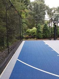 Basketball court in shades of blue in Lexington, MA.