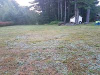 Expanse of lawn that will become a basketball court featuring Celtics logo, with fire pit, patio, and light for night play, in Londonderry, NH.