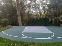 Custom rounded basketball court in Needham, MA.