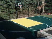 Sadly, our only recovered picture of a green and yellow home basketball court in Norfolk, MA.