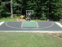 Basketball court done except landscaping/clean-up in Raynham, MA