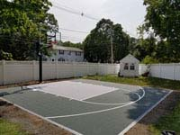 Small slate green and titanium residential basketball court in Reading, MA.
