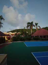 Caribbean tennis court restoration at Sandals Grande Antigua Resort and Spa in St. Johns, Antigua.