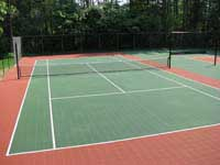 Replacement tennis, shuffleboard, hopscotch, multiple use court for a residential complex in Duxbury, MA. This could be your commercial tennis court in Brookline, Cambridge, Quincy, Milton, Franklin, or Walpole.