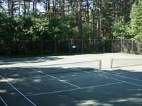 Before large commercial tennis court and multicourt facelift in Duxbury, MA. This could be your commercial court for any combination of games or sports, in Cohasset, Hopkinton, Belmont, Acton, Sharon, or Holliston.