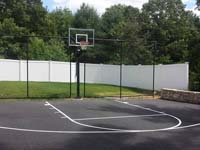 Basketball hoops and accessories like rebounders are also available for basic cpainted blacktop courts.