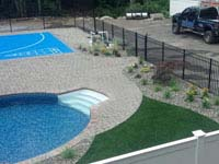 Basketball court with pool deck in Wareham, MA