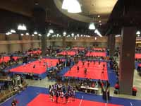 Indoor sport tile volleyball courts in convention center for New England Regional Volleyball Association (NERVA) Winterfest 2020 tournament in Hartford, CT. Wide view of a bunch of the courts in use.