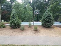Backyard basketball court multicourt with added tennis and volleyball net is the sort of thing you might find in Andover, MA or a yard like yours.