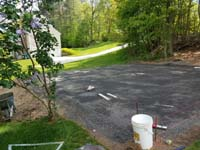 Backyard basketball court in Douglas, MA.