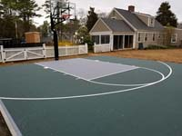 Dark green basketball court in Duxbury, MA.