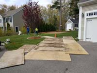 Backyard basketball court construction in Duxbury, MA.