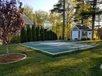 Massachusetts backyard basketball court in Duxbury, but this could be your yard, your town, in Massachusetts, or even in Rhode Island or Southern New Hampshire.