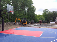 Backyard basketball court build in North Attleboro, MA.