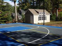 Backyard basketball court in Hanover, MA.
