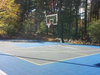 Backyard basketball court in Hanover, MA. Whatever your sport, you could have a court surface and accessories of your own.