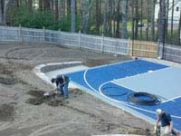New basketball court installed in conjunction with landscape design in Kingston, MA..