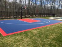 Stunning blue and red sport surface and accessories in North Attleboro, MA.