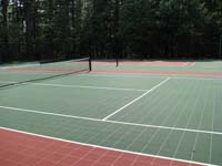 Replacement court surface for multiple games and sports at a residential housing complex in Duxbury, MA.