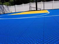 Royal blue and yellow basketball court and accessories in Stoneham, MA.