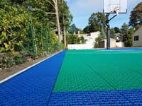 Backyard basketball court in Wellesley, MA.