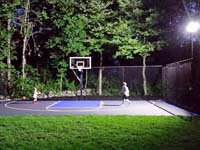 Backyard basketball, lighted for night fun,in West Bridgewater, MA.