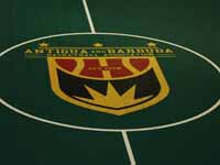 Closeup of ABBA, Antigua and Barbuda Basketball Association, logo in center of basketball court in Antigua.