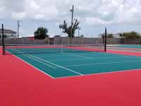 Replacement tennis and basketball courts in Codrington, Barbuda, courtest of Australia, the Red Cross, and community effort, part of the ongoing recovery from hurricane Irma.Shown here, the new tennis court.