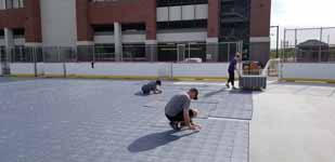 Picture from before, during or after the process of installing an inline hockey rink at Grand Canyon University in Phoenix, Arizona.