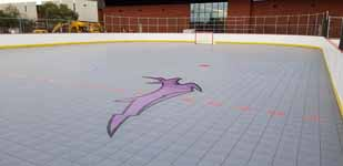 Grand Canyon University antelope logo on new inline hockey rink at their campus in Arizona.